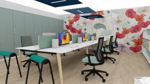 Riganelli progettazione e arredo ufficio operativo open space con sedute operative ergonomiche