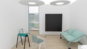 Riganelli progettazione uffici spazi comuni area relax divanetti lavagna e pannelli acustici